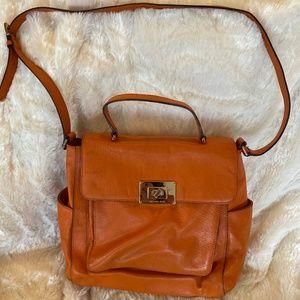 Michael Kors Orange Pebbled Leather Cross Body Bag